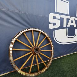 The Utah State Aggies and Brigham Young Cougars play for the wagon wheel in Logan on Friday, Oct. 1, 2021.