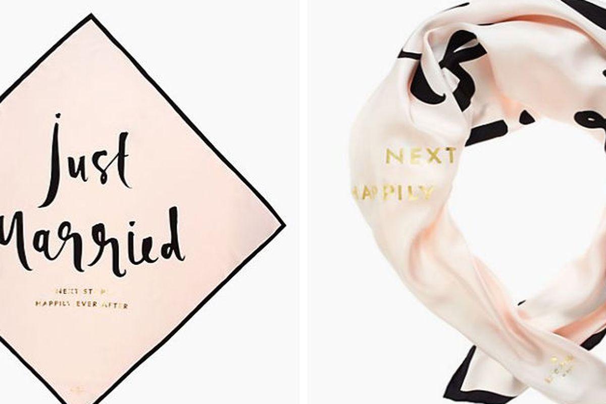 "Kate Spade Wedding Bells Just Married scarf, <a href=""http://www.katespade.com/wedding-belles-just-married-silk-square/PSRU1659,en_US,pd.html?dwvar_PSRU1659_color=974&amp;cgid=ks-new-arrivals-accessories#start=24&amp;cgid=ks-new-arrivals-accessories"