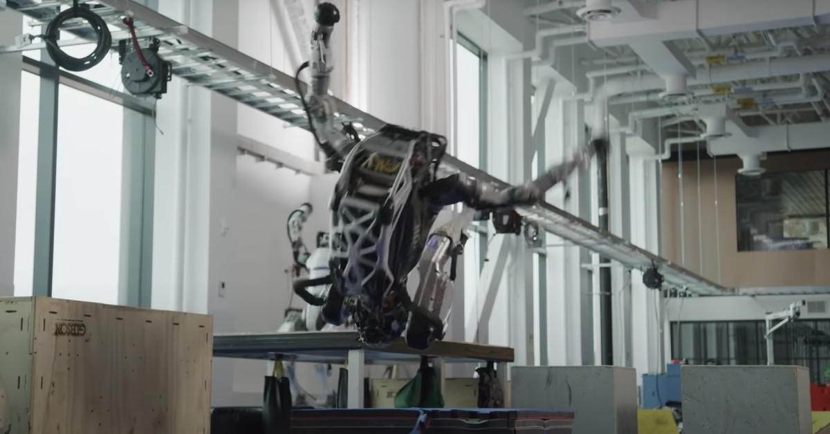 Boston Dynamics has published a pair of new videos showcasing its bipedal Atlas robot. The first is typical Boston Dynamics flash, with two Atlas unit