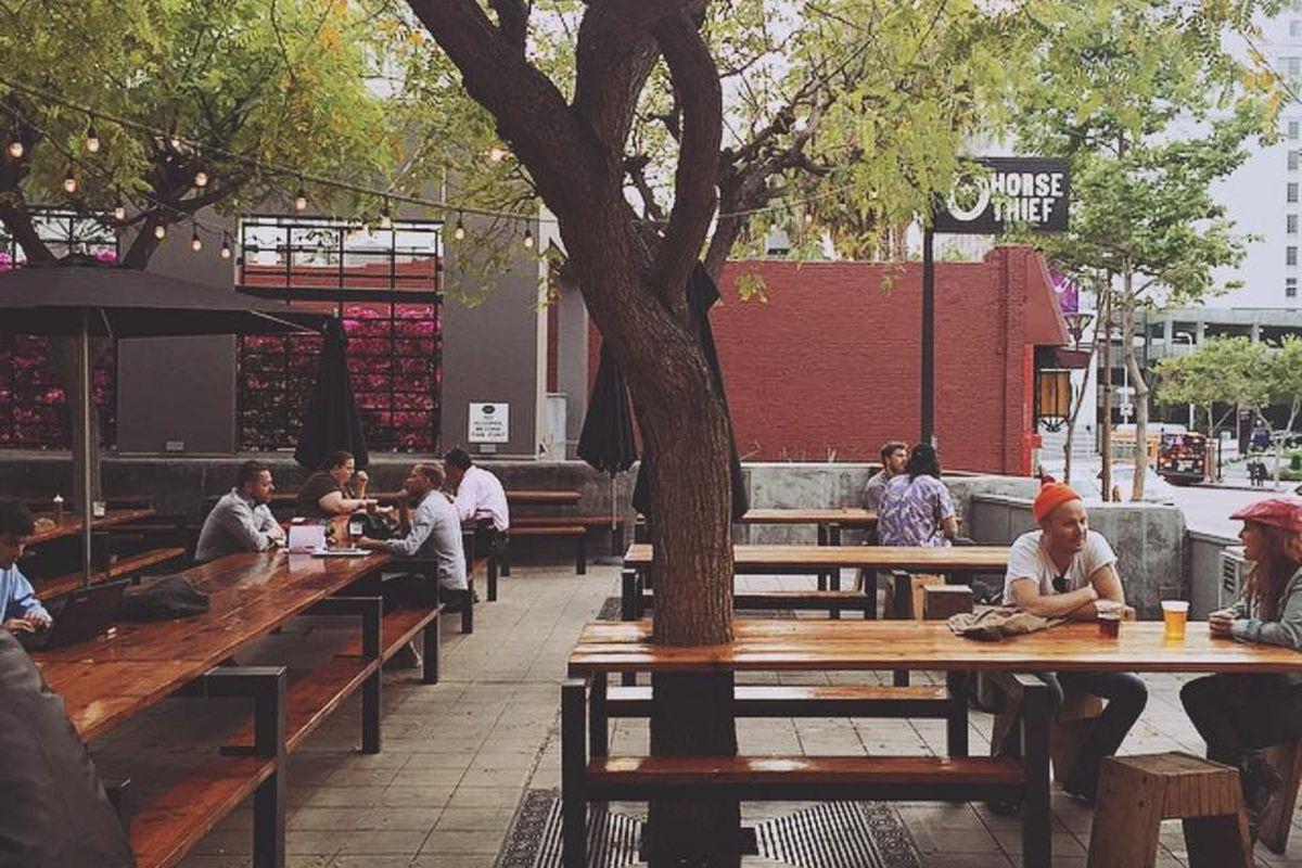 The original patio at Horse Thief BBQ