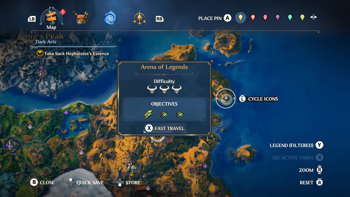 The map location of the Arena of Legends Vault of Tartaros in Immortals Fenyx Rising