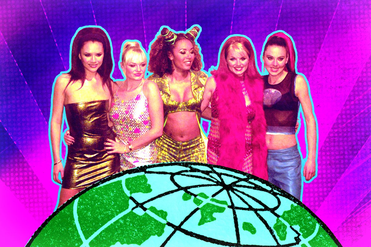 A photo illustration of the Spice Girls' attempt at world domination