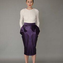 Elizabeth blouse, $495; Laura skirt, $550