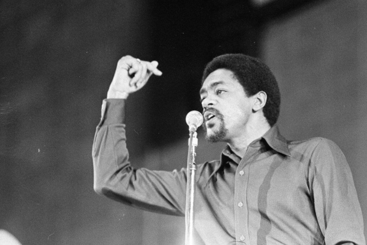 Bobby Seal speaks at the First Black National Political Convention at West Side High School in Gary, Indiana, on March 11, 1972.