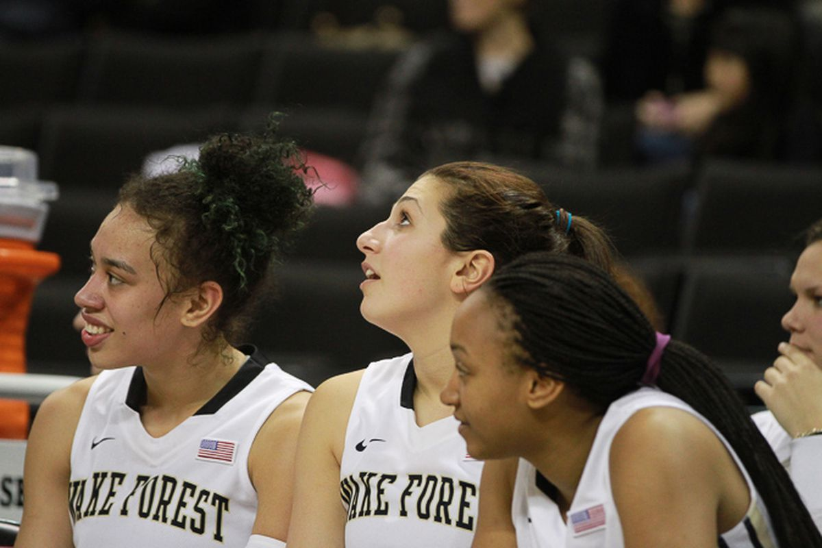 The BFFs smile during Wake Forest's win over UNC-W