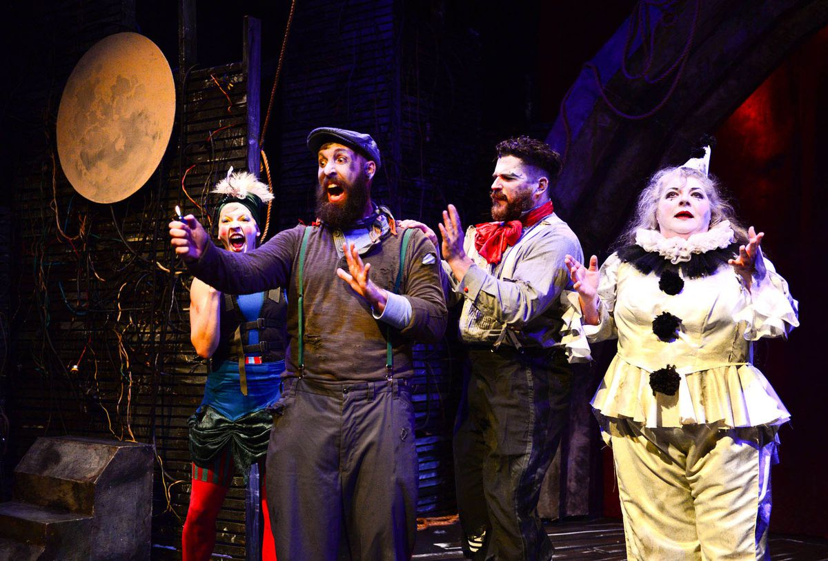 """Leah Urzendowski (from left), Jay Torrence, Anthony Courser and Pam Chermansky in The Ruffians' 2014-15 production of """"Burning Bluebeard."""""""