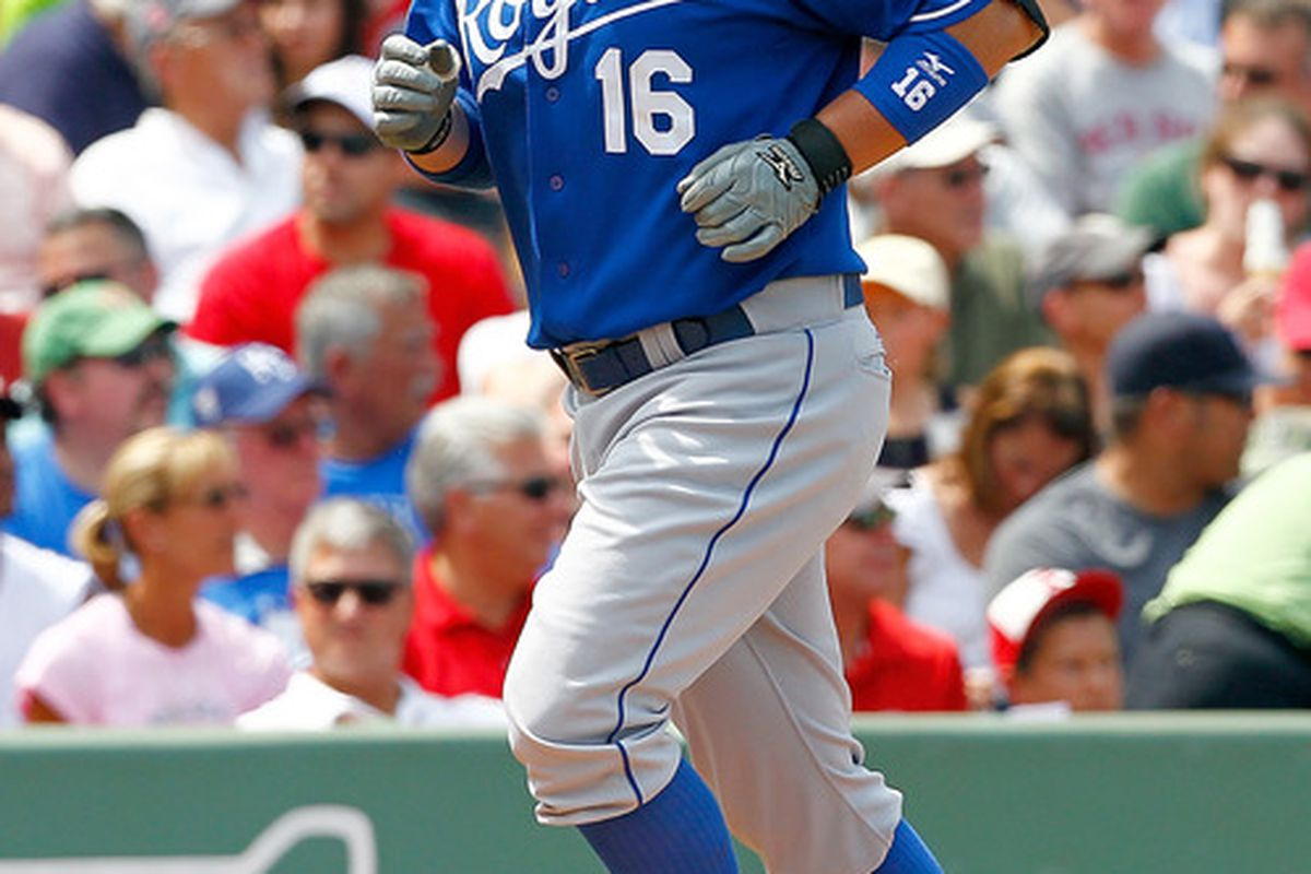 BOSTON, MA  - JULY 28:  Billy Butler #16 of the Kansas City Royals rounds the bases after hitting a home run against the Boston Red Sox at Fenway Park on July 28, 2011 in Boston, Massachusetts.  (Photo by Jim Rogash/Getty Images)