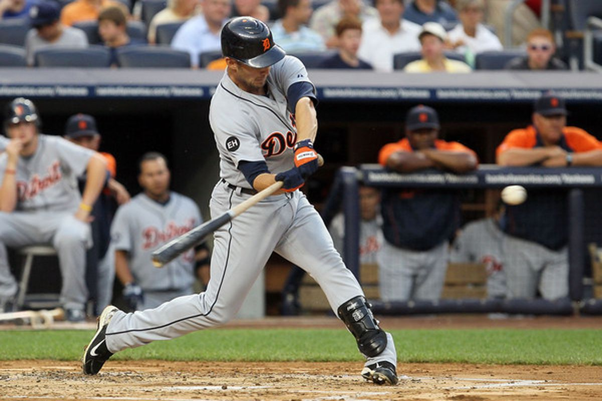 NEW YORK - AUGUST 16:  Ryan Raburn #25 of the Detroit Tigers connects on a second inning two run home run against the New York Yankees on August 16 2010 at Yankee Stadium in the Bronx borough of New York City.  (Photo by Jim McIsaac/Getty Images)