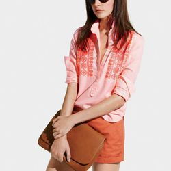 """Our embroidered neon stripe popover and 3"""" chino shorts."""