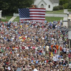 President Barack Obama speaks at a campaign event at the Living History Farms, Saturday, Sept. 1, 2012, in Urbandale, Iowa.