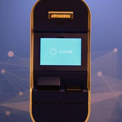 A pod for CLEAR, a new biometric, fee-based service that allows travelers to move past manual ID verification lines using fingerprints and iris scans, is pictured at the Salt Lake City International Airport in Salt Lake City on Wednesday, July 12, 2017.
