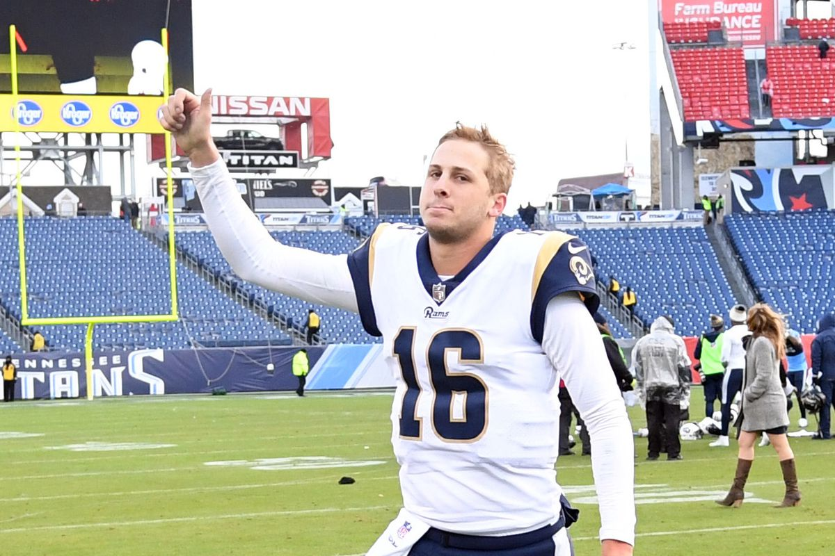 Los Angeles Rams QB Jared Goff runs off the field after a win against the Tennessee Titans in Week 16, Dec. 24, 2017.