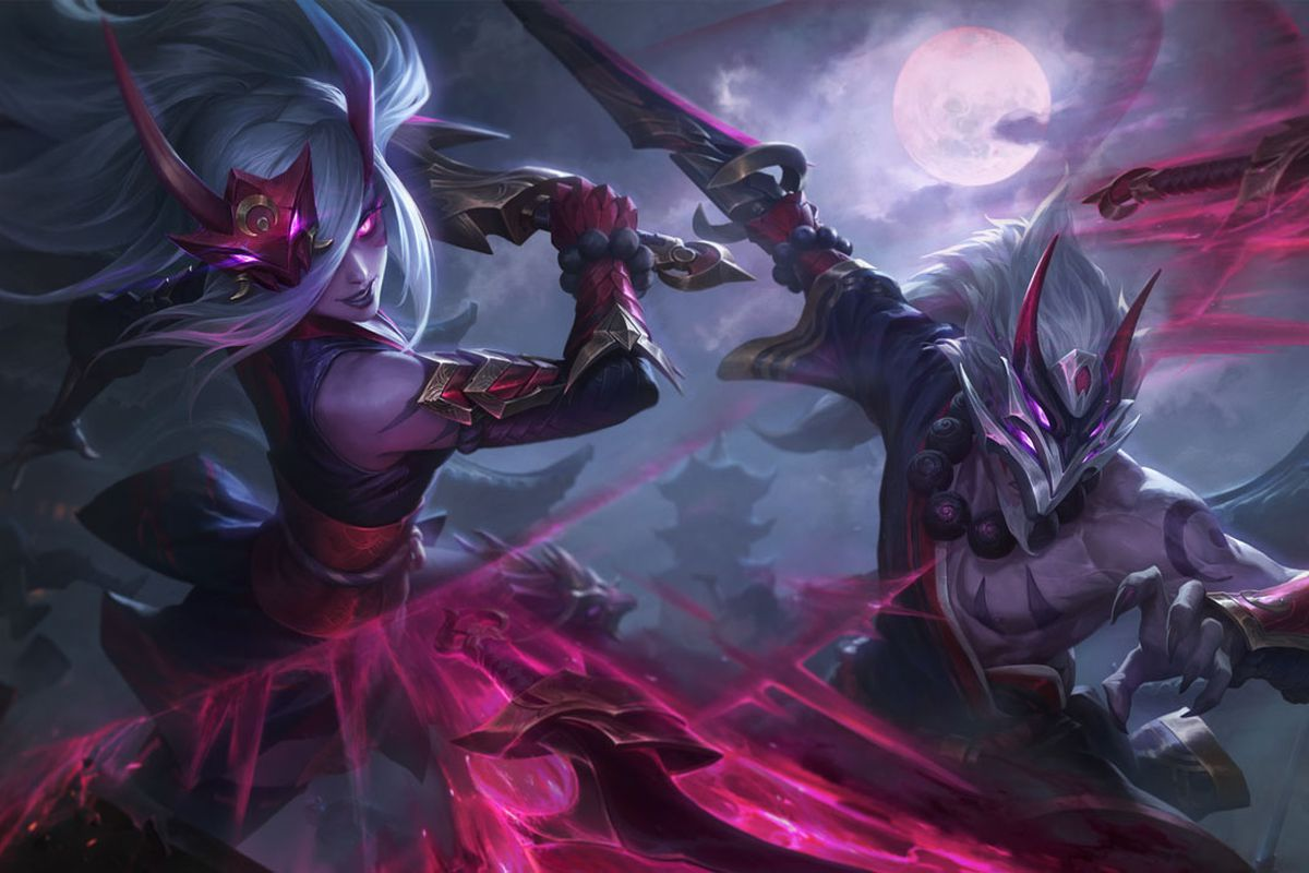 Blood Moon Katarina and Master Yi fight together under a night sky