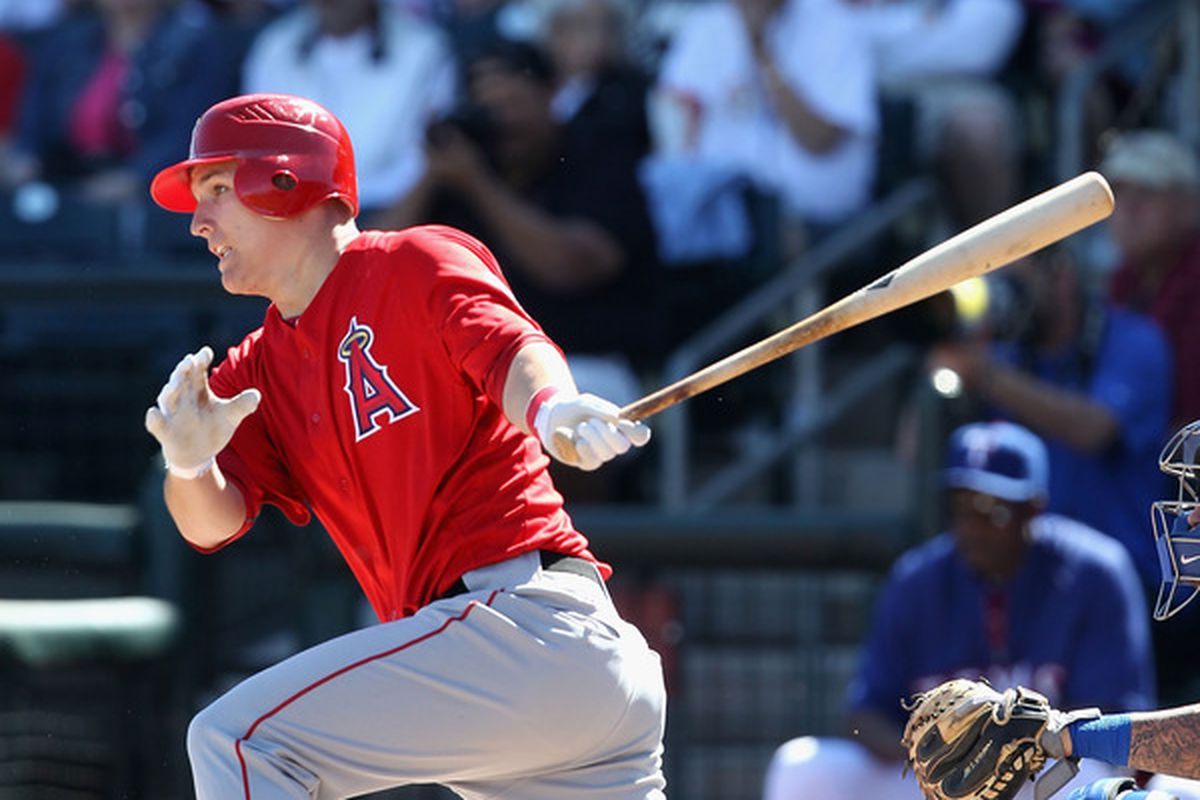 Mike Trout was among 10 roster cuts by the Angels on Monday.