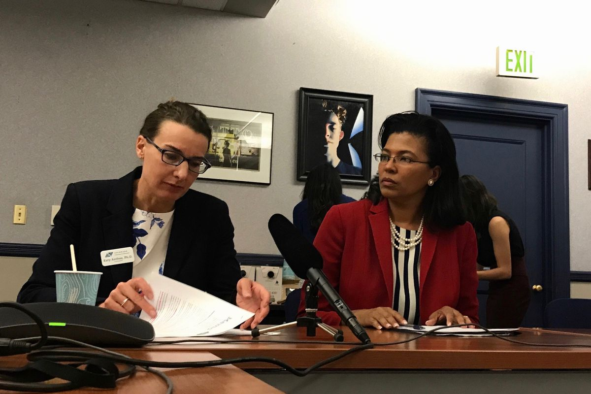 Education Commissioner Katy Anthes and Executive Director of the Department of Higher Education Kim Hunter Reed take questions on the state's teacher shortage. (Photo by Nic Garcia/Chalkbeat)