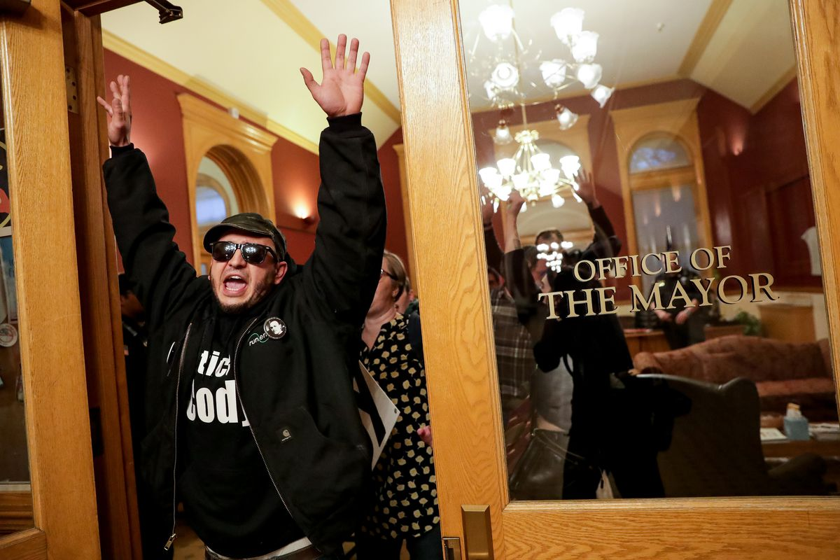 Marvin Oliveros, step-brother of Cody Belgard, other family members and members of Utah Against Police Brutality leave at the direction of security after a protest and sit-in to demand a meeting with Mayor Jackie Biskupski at her office at the Salt Lake City and County Building in Salt Lake City on Thursday, Jan. 10, 2019. Cody Belgard was shot and killed by Salt Lake City police officers on Nov. 9, 2018.