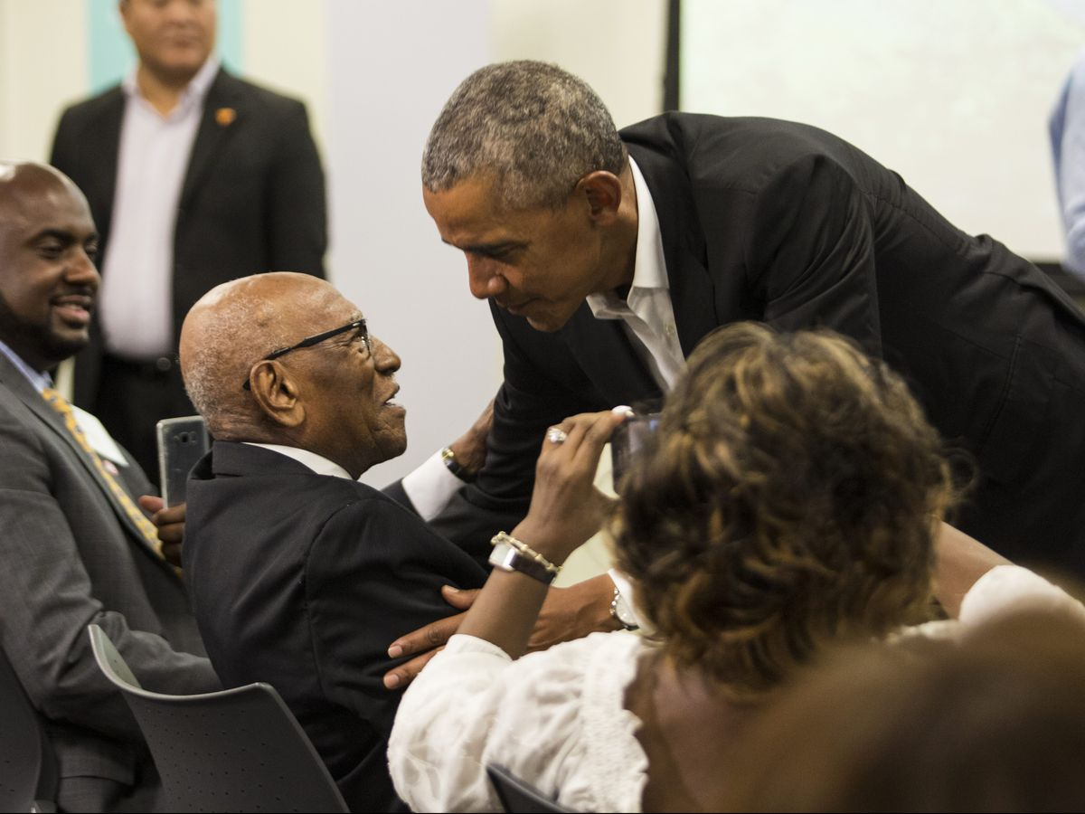 Former President Barack Obama meets with stakeholders and community members at the Obama Foundation's headquarters in Hyde Park, Tuesday afternoon. | Ashlee Rezin/Sun-Times