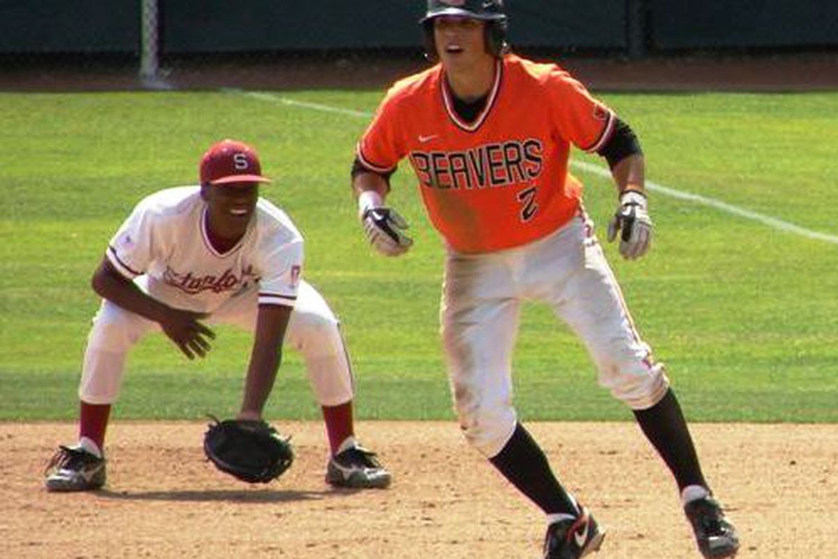 Oregon St., after sweeping Stanford last weekend, look to retain first place in the Pac-10, when the Beavers host Washington St.  <em>(Photo by So. Oregon Beaver Fan)</em>
