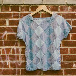 Engineered Garments patchwork top, $144
