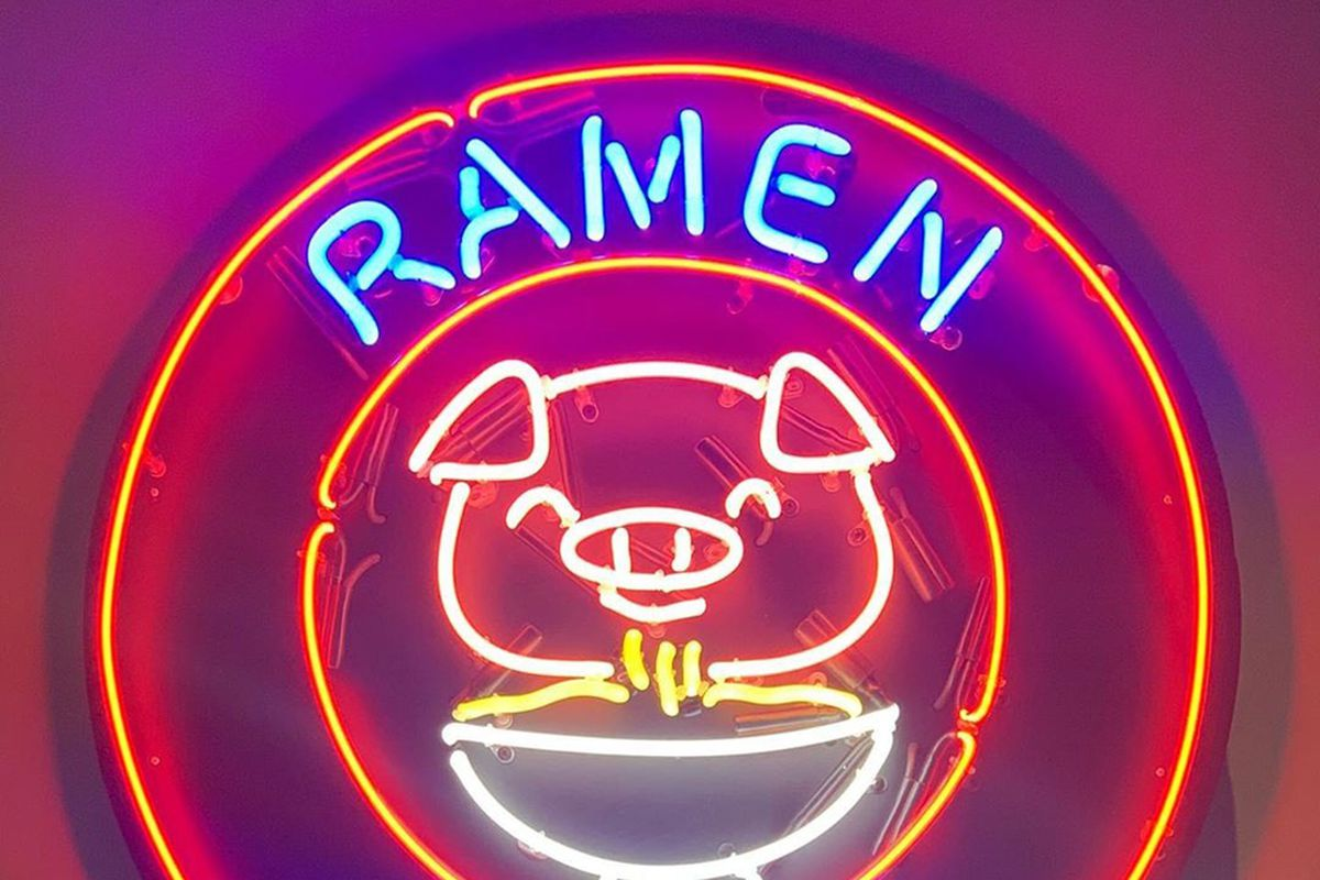 The neon signage at the newly opened, build-your-own dish Ramen Belly in Henderson.