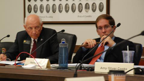 Sen. Rollie Heath, D-Boulder, (left) and Rep. Mark Ferrandino, D-Denver, at the final meeting of Longterm Fiscal Stability Commission on Nov. 4, 2009.