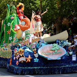 The city of South Jordan's float makes its way along the Days of '47 Parade route in Salt Lake City on Friday, July 23, 2021. The float won the Governor's Awardfor the best float in the government section.