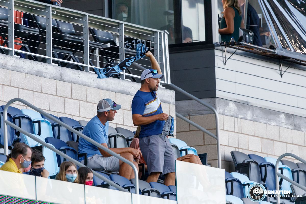 August 21, 2020 - Saint Paul, Minnesota, United States - A small selection of friends and families cheer on the Loons during the Minnesota United vs Sporting KC match at Allianz Field.