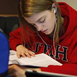 Student Laural Casal studies at The University of Utah's J. Willard Marriott Library in Salt Lake City Wednesday, Jan. 21, 2015.