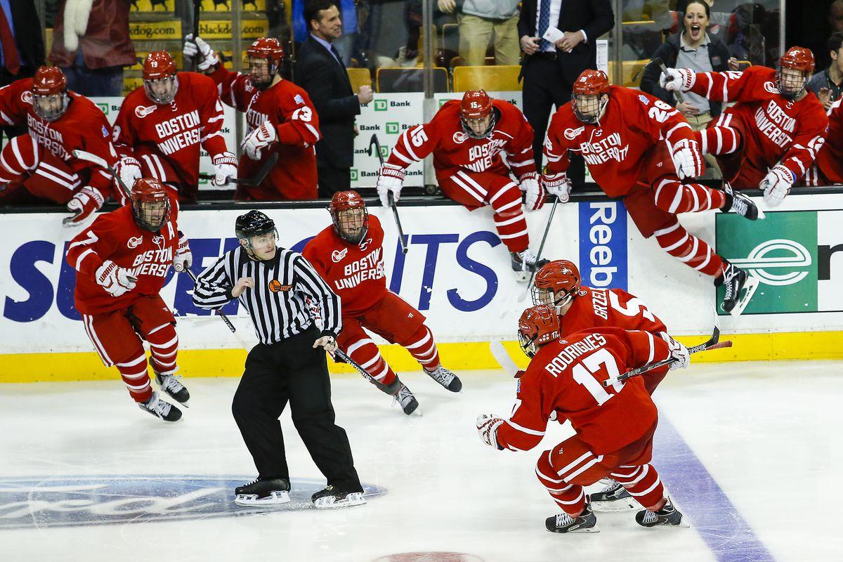 Will Boston University be celebrating on TD Garden ice again come Saturday night?