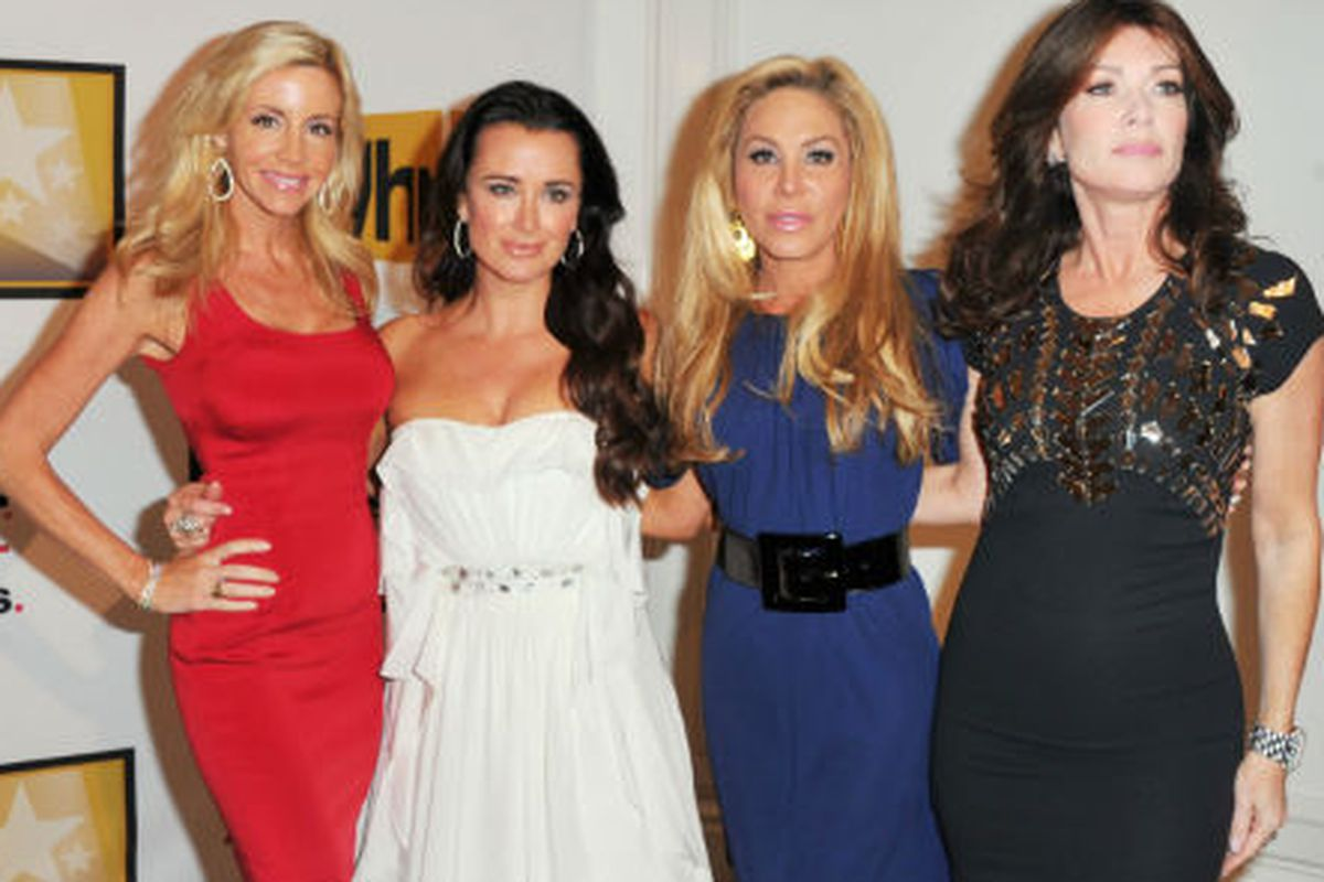Kyle Richards with her Real Housewives of Beverly Hills co-stars. Photo via Getty Images.
