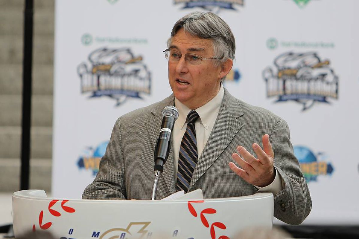 PCL president Branch Rickey at the announcement in Omaha