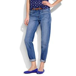 """The great thing about boyfriend jeans? They can be rolled down for maximum warmth or rolled up for a little bit of breeze. They're especially cute with a tucked-in blouse and a classic ballet flat, two spring staples. $98.95 at <a href=""""http://www.madewel"""