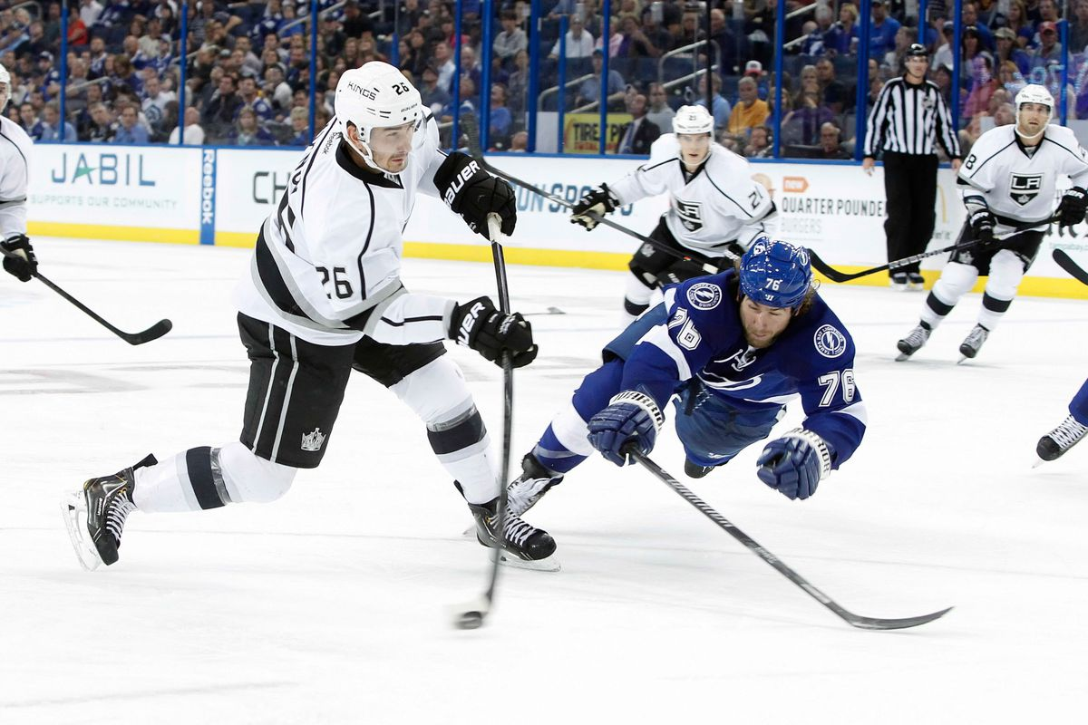 Voynov played 26 up-and-down minutes and scored on Tuesday.