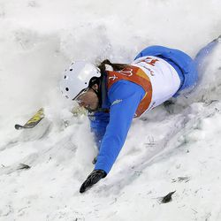 Madison Olsen, of the United States, crashes during the women's freestyle aerial final at Phoenix Snow Park at the 2018 Winter Olympics in Pyeongchang, South Korea, Friday, Feb. 16, 2018.