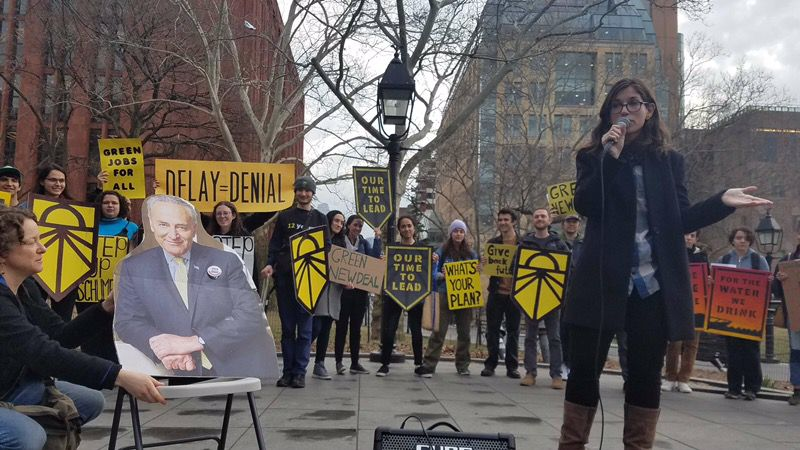 Liat Olenick speaks at a Green New Deal rally in March as part of her work with Indivisible Nation BK.