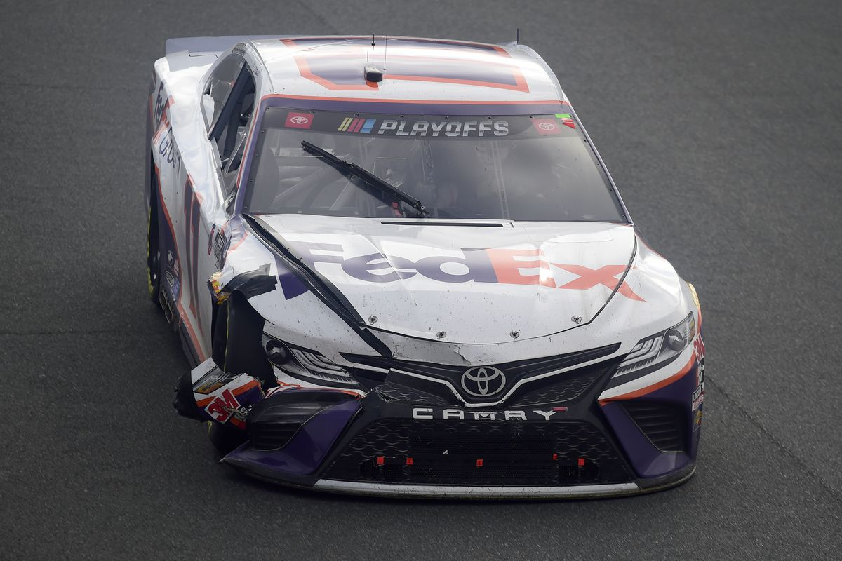 Denny Hamlin, driver of the FedEx Ground Toyota, drives during the NASCAR Cup Series Bank of America ROVAL 400 at Charlotte Motor Speedway on October 11, 2020 in Concord, North Carolina.