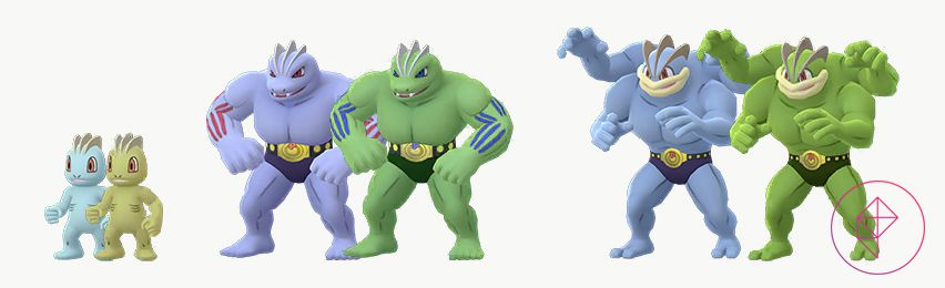 Shiny Machop, Machoke, and Machamp with their regular versions. The Shiny versions are all tinted green, rather than blue.