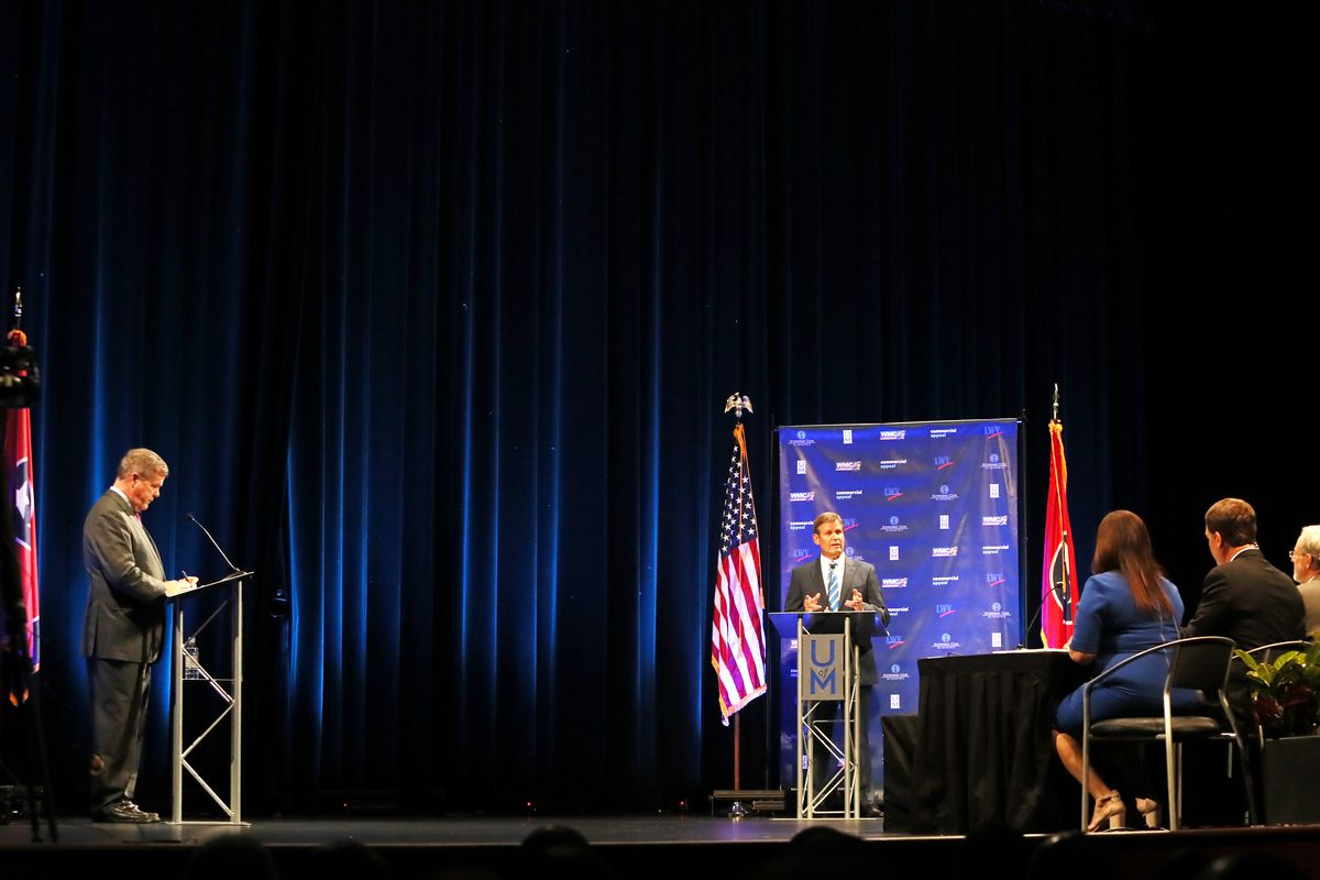 Republican candidate Bill Lee (right) speaks at the gubernatorial debate with Democratic candidate Karl Dean at the University of Memphis' Michael D. Rose Theater in Memphis on Tuesday.