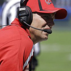Southern Utah coach Ed Lamb watches from the sideline during the first half of an NCAA college football game against California Saturday, Sept. 8, 2012, in Berkeley, Calif. (AP Photo/Ben Margot)