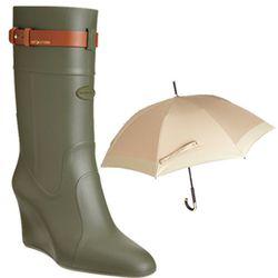 "<b>Sergio Rossi</b> Wedge Rain Boot, <a href=""http://www.barneys.com/Sergio-Rossi-Wedge-Rain-Boot/502124162,default,pd.html?cgid=women&index=2"">$350</a> + <b>Burberry</b> Heritage Walking Umbrella, <a href=""http://www1.bloomingdales.com/shop/product/burbe"