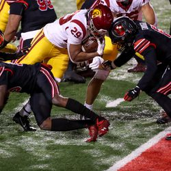 USC Trojans running back Vavae Malepeai (29) runs the ball in for a touchdown during the game against the Utah Utes at Rice-Eccles Stadium in Salt Lake City on Saturday, Nov. 21, 2020.