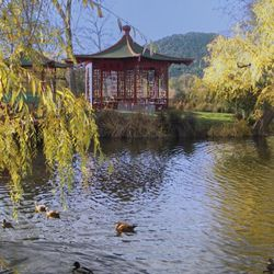 """The famed """"Jade Lake"""" dug out by Yort and Jeanie Frank, the owners of the estate from 1959 until its sale to Jim Barret in 1972. [Source: Road Trip America]"""
