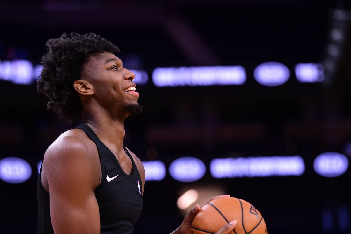 James Wiseman of the Golden State Warriors warms up before the game against the Atlanta Hawks on March 26, 2021 at Chase Center in San Francisco, California.