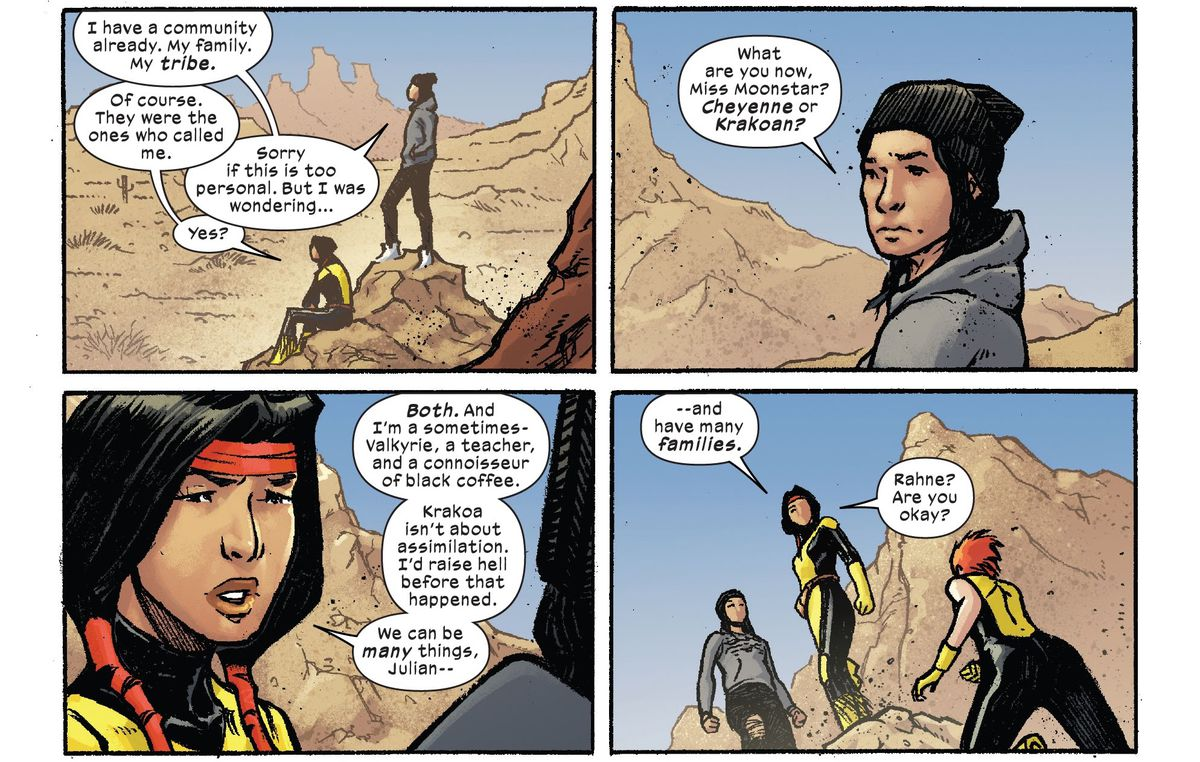"""""""Krakoa isn't about assimilation. I'd raise hell before that happened. We can be many things ... and have many families,"""" says Dani Moonstar in Marvel Voices: Indigenous Voices #1, Marvel Comics (2020)."""