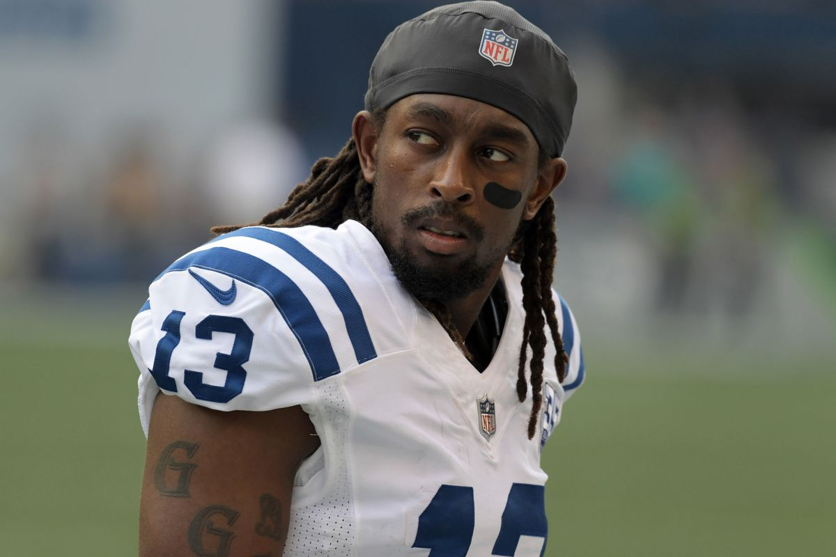 huge discount ae465 5083d T.Y. Hilton and K.J. Brent leave Colts practice with ...