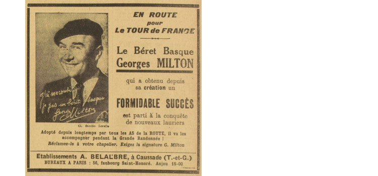A ad for a beret promoted by Georges Milton