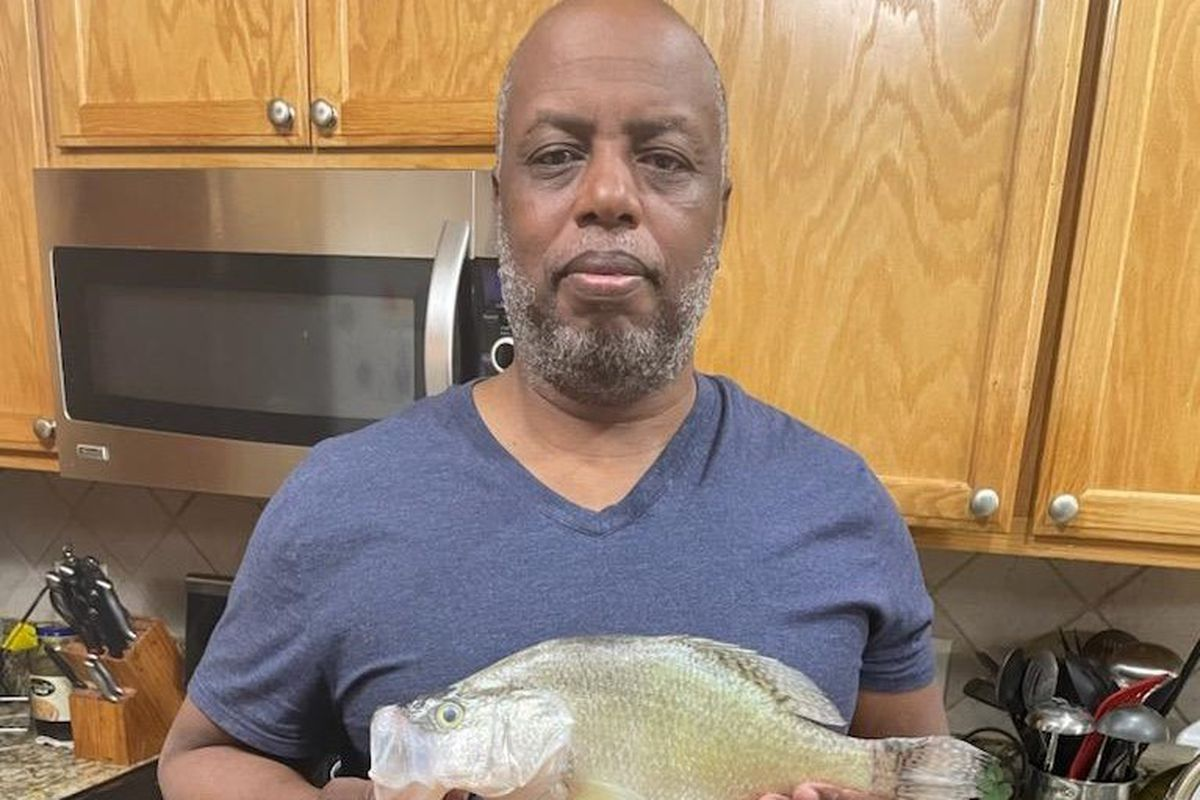 Carl Burch with a big crappie from Saganashkee Slough.