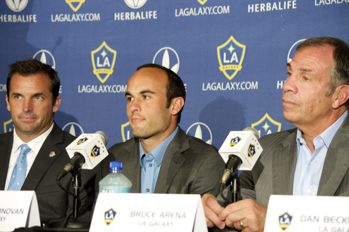 Landon Donovan fields questions about his retirement from the media