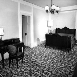 Priceless antiques and original furniture adorn this Heritage Room. Carpeting, drapes and lighting add to the restored effect of the room. June 2, 1967.