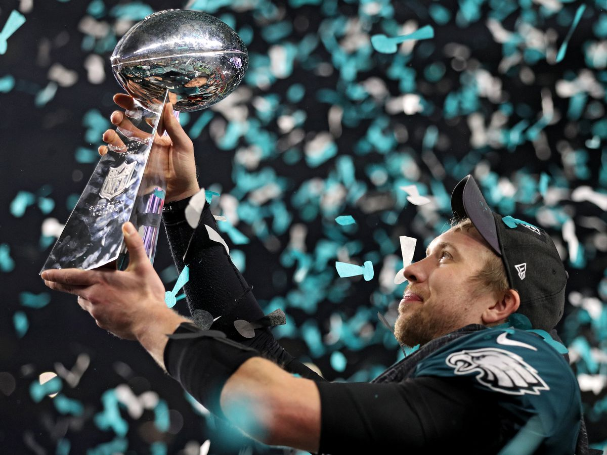 Nick Foles Raises The Vince Lombardi Trophy After Defeating New England Patriots 41 33 In Super Bowl LII Photo By Patrick Smith Getty Images
